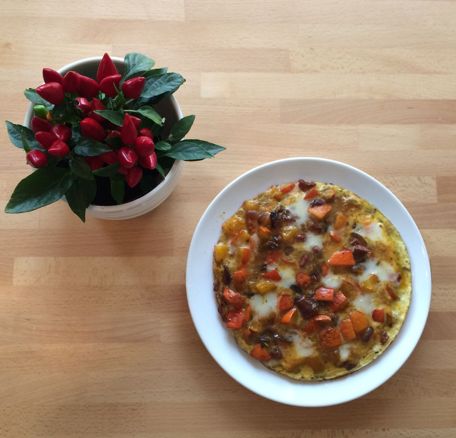 Omelette potimarron, chorizo et brebis