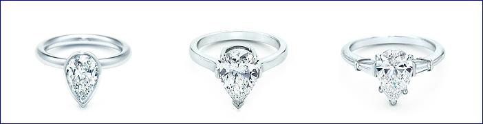 Tiffany Anelli con diamanti a goccia e quadrati