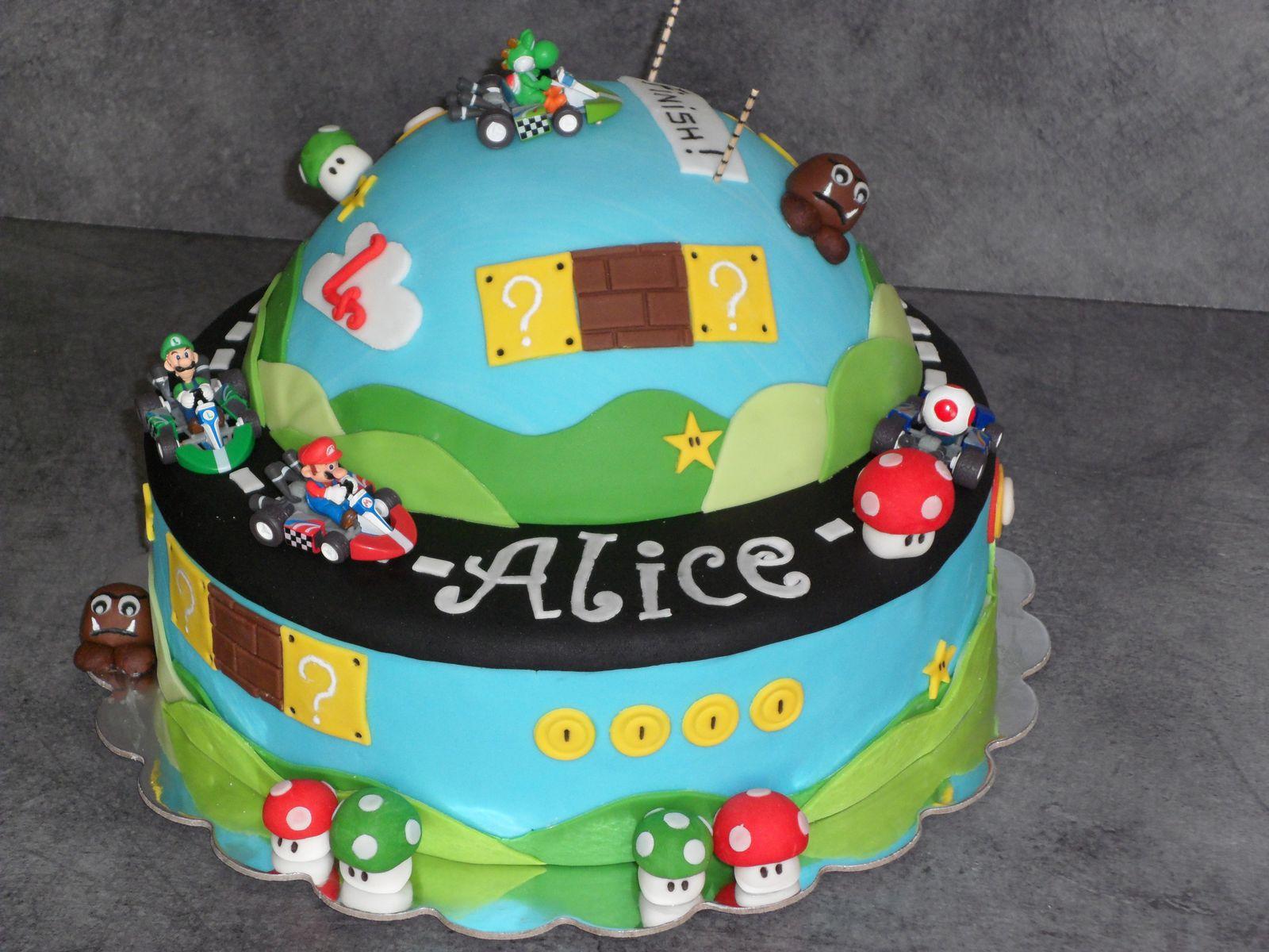 Gâteau pâte à sucre Mario Kart