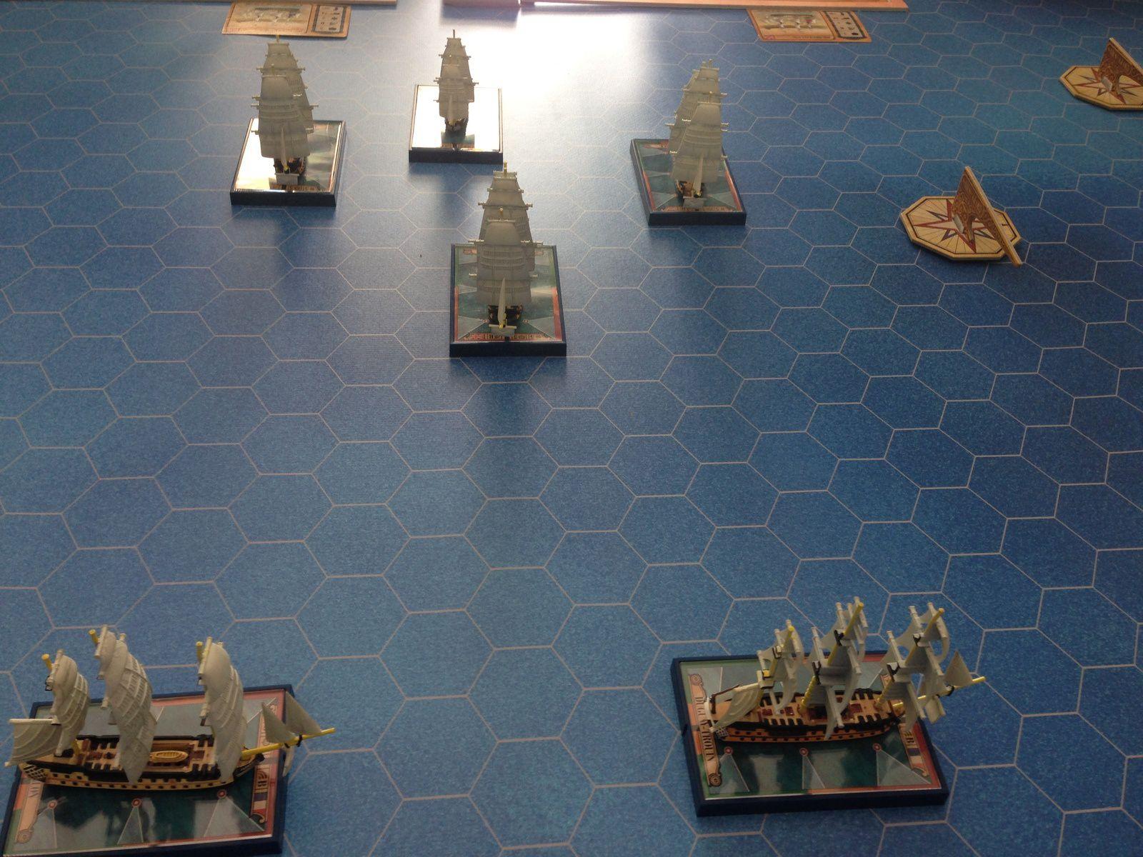 Bilan, deux frégates coulées ( une de chaque coté) en ayant heurté soit des navires ennemis soit alliés..sans les règles gérant les voiles, compliqué de s'arrêter .....aieee !