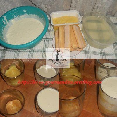 On commence par  mélanger les ingrédients de notre crème à tiramisu que l'on va réserver au frais avant de  fouetter  ( tout est expliqué en détails  sur le lien du tiramisu, il suffit de cliquer dessus)  . Ensuite on prépare notre sirop en mélangeant les ingrédients . Porter à ébullition et laisser cuire encore 5 minutes puis réserver au frais.Au moment de dresser les verrines, nous allons  imbiber un biscuit que l'on  coupera en 2  et que l'on   placera dans le fond de la verrine, on verse  l'équivalent d'une bonne cuillère à soupe de lemon curd, puis l'équivalent  de 2 c à s de crème à tiramisu  et  on répété l'opération pour la 2ème couche.
