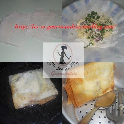 Pour 4 bricks, vous aurez besoin d'une 5ème feuille que vous couperez en 4 , puis vous allez mettre chaque morceau au milieu des feuilles restantes. étalez le fromage portion sur toutes les feuilles  puis rajouter les oignons crus, le persil.Salez poivrez et faire genre un petit puits. Chauffez  votre huile  une fois chaude  prendre une feuille de bricks garnie  la déposer sur une assiette plate. Cassez votre oeuf ( essayez de bien centrer) et frire se duite sur un feu doux des 2 faces. Égouttez vos bricks  ( je le fais dans un petit couscoussier  déposé sur une assiette creuse puis je les dépose sur du papier absorbant )
