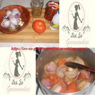 Pour commencer, lavez puis découpez grossièrement l'oignon la tomate  rajouter l'ail et faites revenir le tout  dans 2 c à s d'huile avec du 1 grosse  c à c de sel et de cumin .Une fois le tout bien coloré couvrir d'eau rajouter du laurier  et laissez cuir à petit feu environs 15 minutes