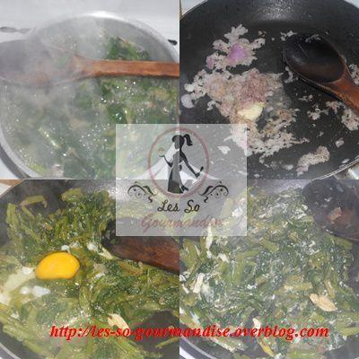 Pour commencer, nettoyez et couper grossièrement vos épinards puis cuire dans de l'eau salée. Égouttez . Hachez finement l'ail et l'oignon et faire revenir le tout dans une noix de beurre. Rajoutez vos épinards à la préparation puis casser un oeuf et bien mélanger le tout.