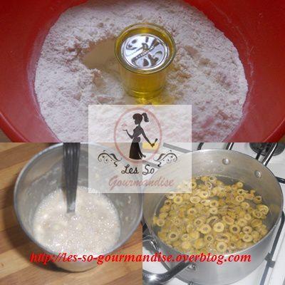 On commence par  mélanger l'huile et la farine  ainsi que le sel