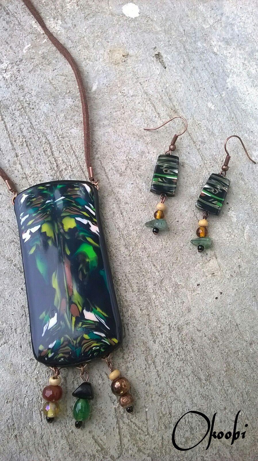 Sautoir en polymère, perles de verre, cordon suédine et apprêts cuivrés