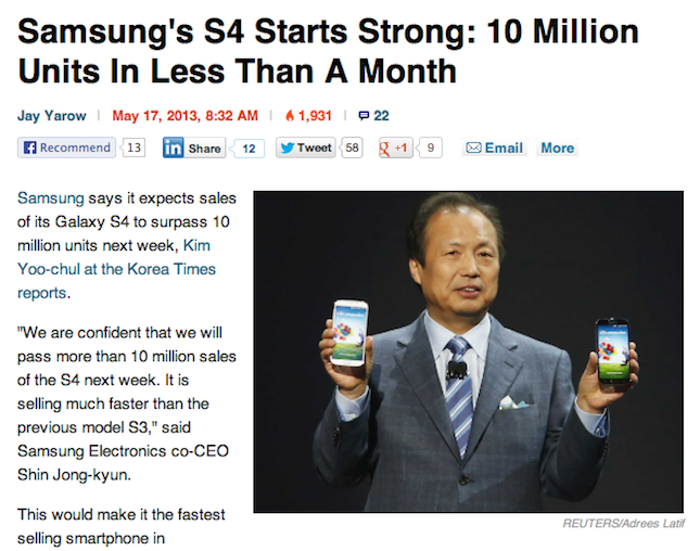 10M Samsung flagship phones in 28 days a 'record,' 5M iPhone 5 in 3 days 'disappointing'