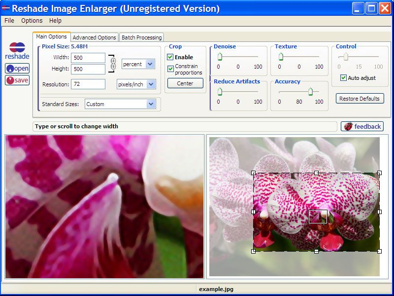 Image Resizer, enlarge images without quality loss