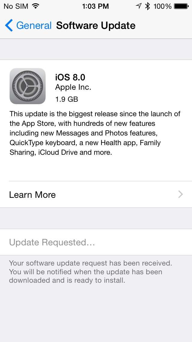 iOS 8 now available, but plan to be patient