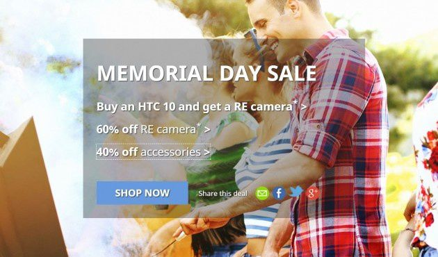 HTC offering big sales on Memorial Day, free RE with HTC 10