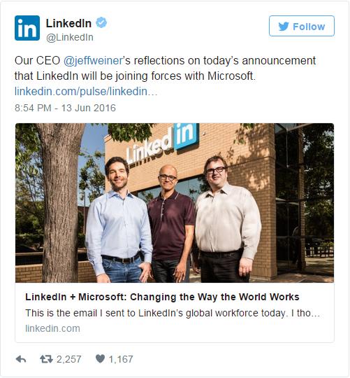 Microsoft to buy LinkedIn for $26.2 billion&#x3B; LNKD shares jump 47%