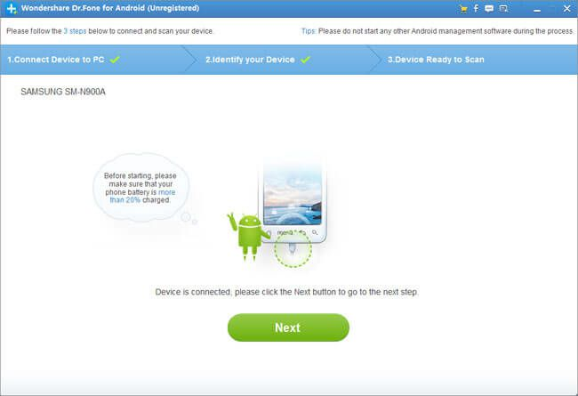 Get data recovery for android to recover deleted files in Android devices
