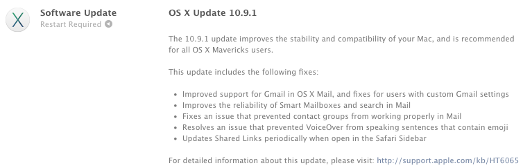 Apple releases OS X 10.9.1 with several mail improvements