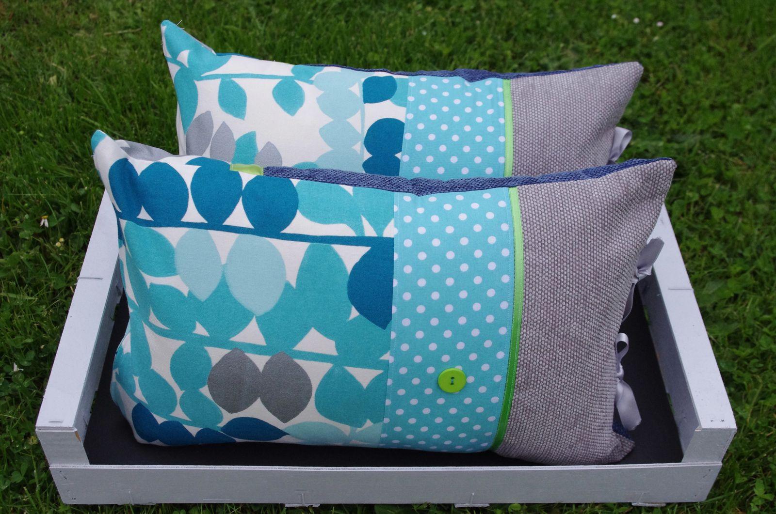 Coussins Bohème turquoise et gris