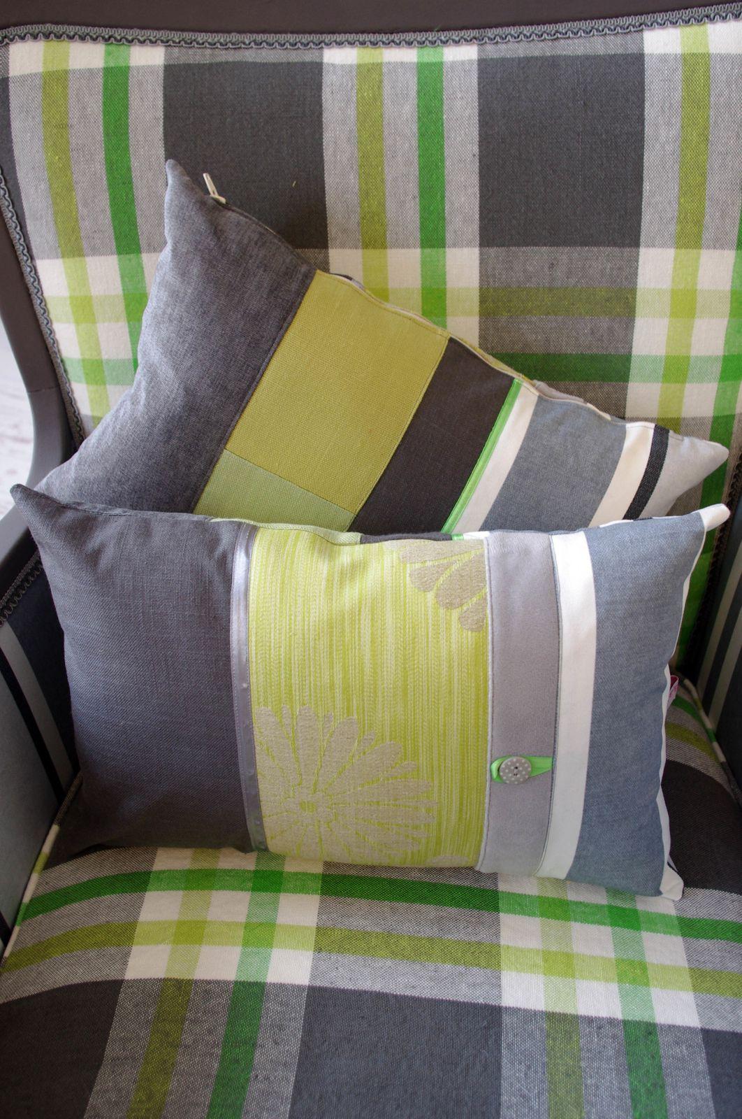 Coussins Bohème gris et vert