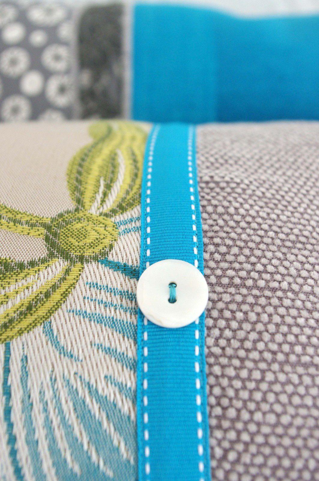 Coussins Bohèmes turquoises et gris