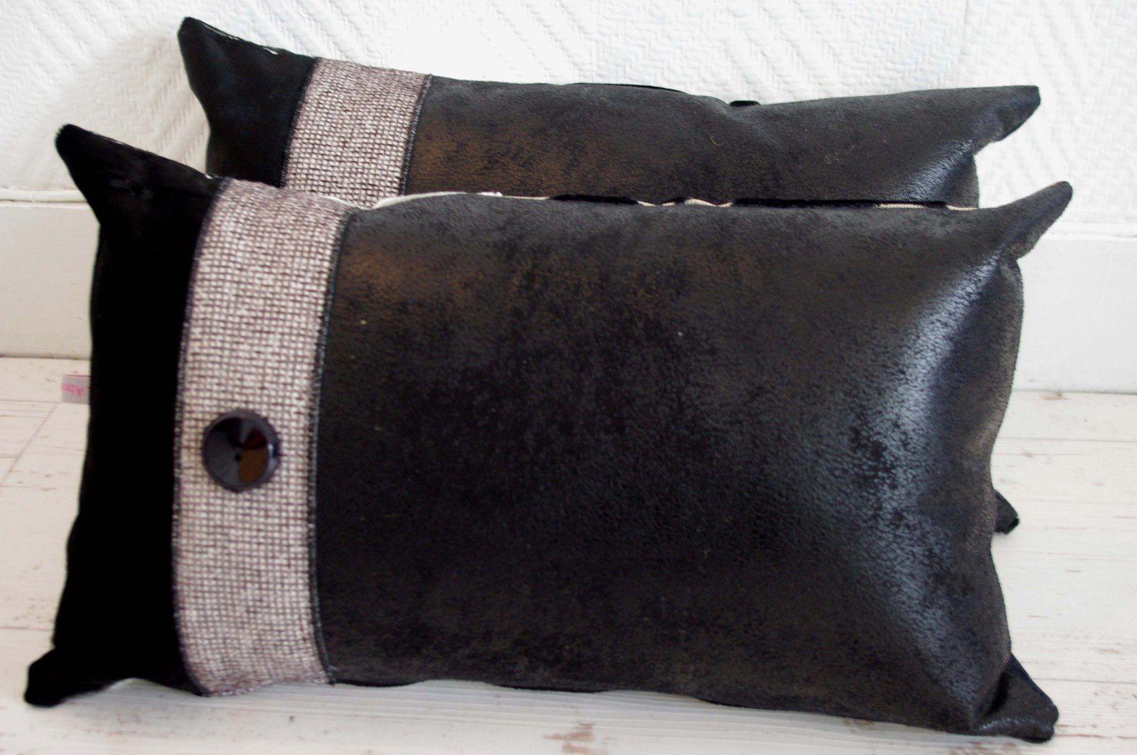 Coussins bohème noirs et argentés