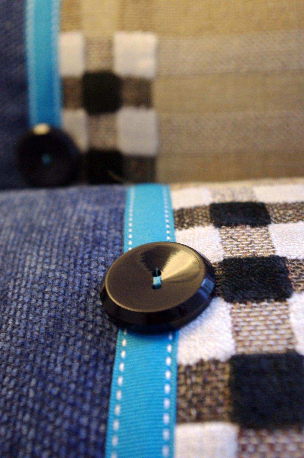 Coussins Bohèmes turquoises et bleu jean