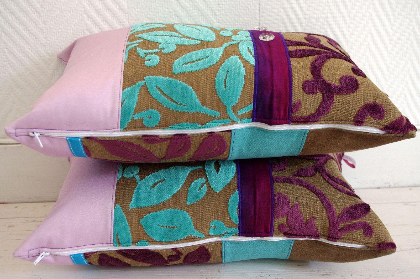 Coussins bohèmes turquoises et violet