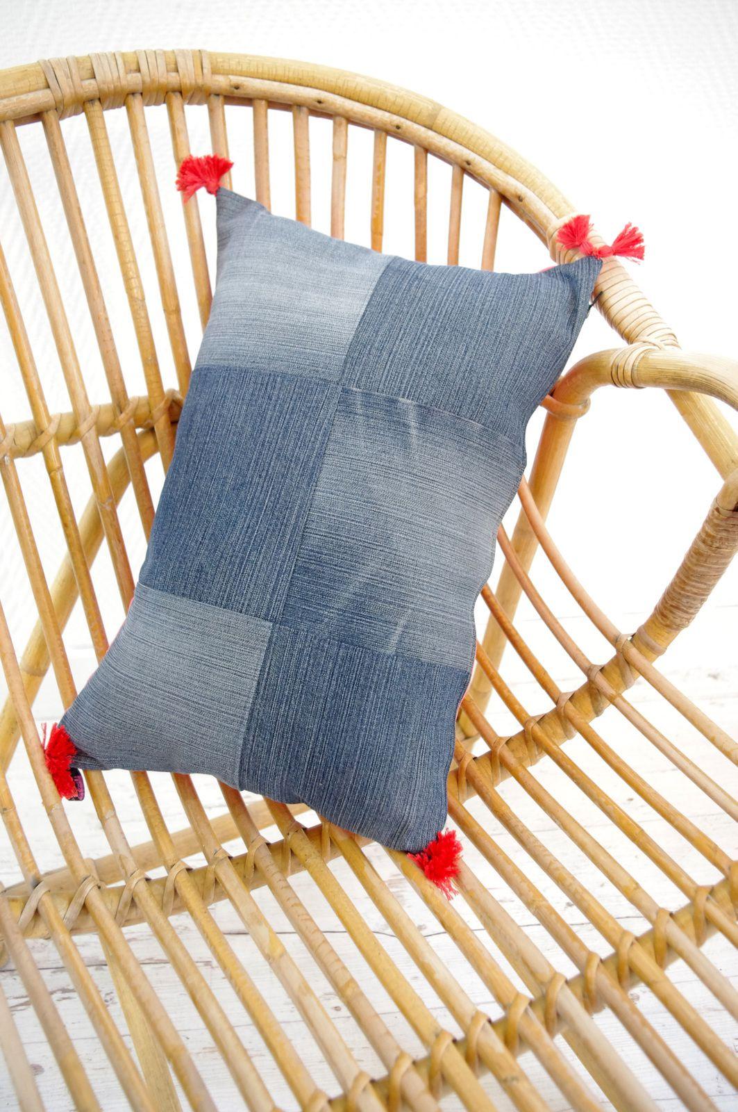 Coussins patchwork en jeans