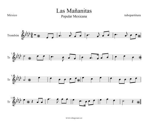 Partitura de &quot&#x3B;Las Mañanitas, del Rey David&quot&#x3B; a Trombón