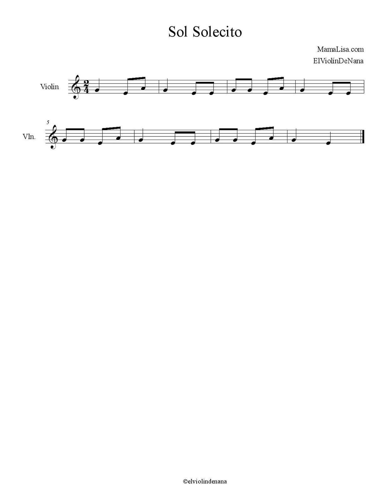 Partitura de la Canción &quot&#x3B;Sol Solecito&quot&#x3B; | Canción Infantil