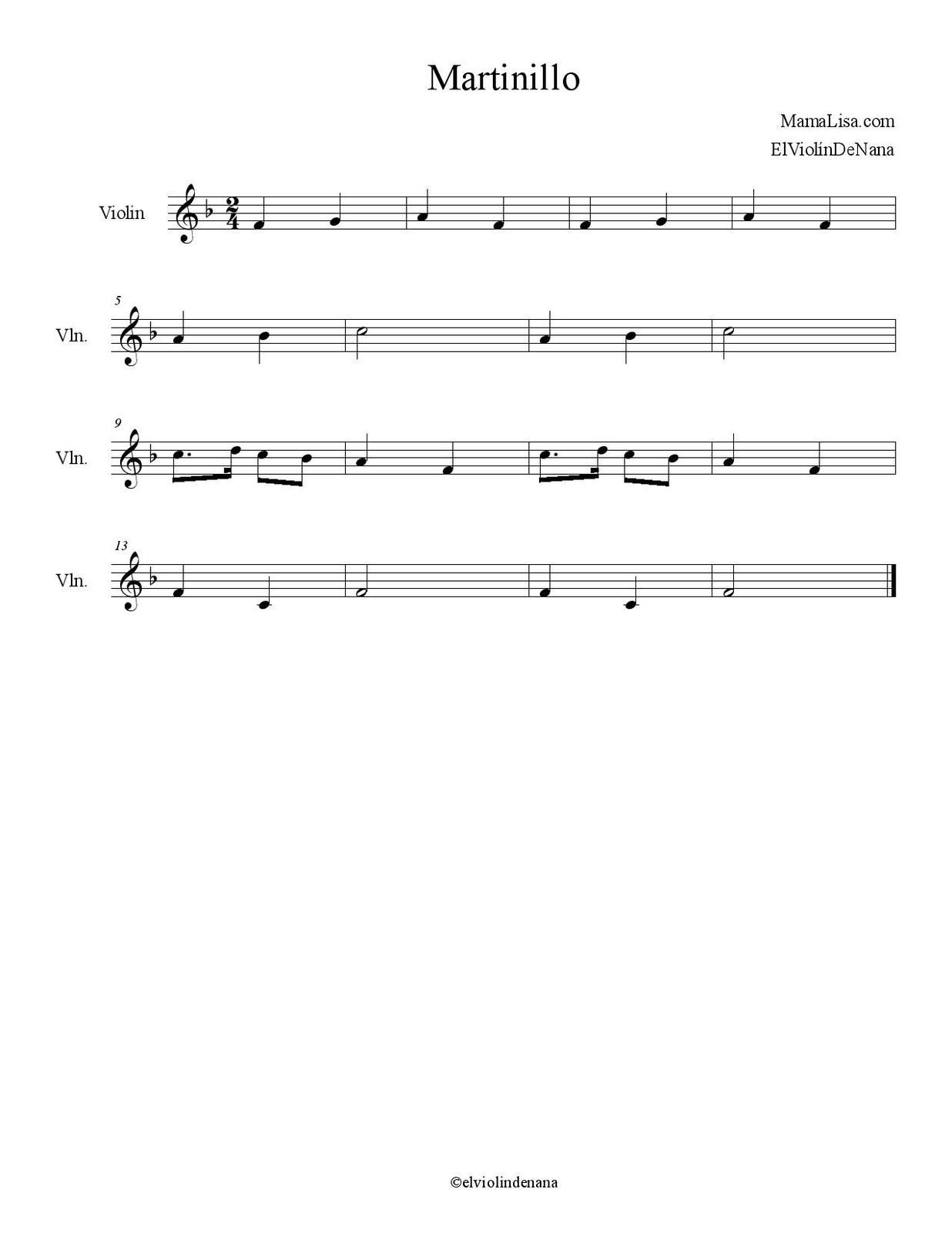 Partitura de la Canción &quot&#x3B;Martinillo&quot&#x3B; | Canción Infantil