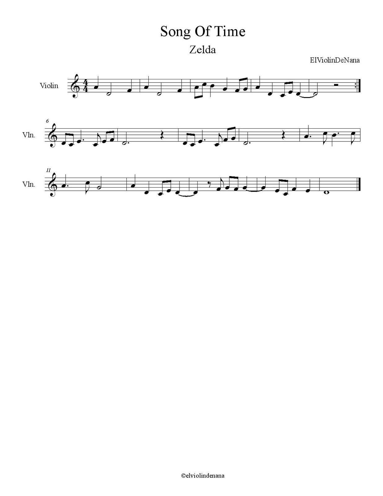 Partitura de la Canción &quot&#x3B;Song Of Time&quot&#x3B;   Zelda
