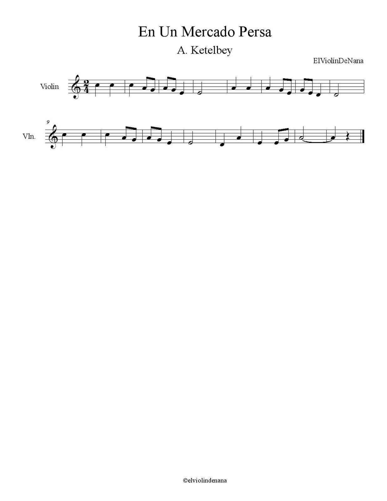 Partitura de la Canción &quot&#x3B;En Un Mercado Persa&quot&#x3B; | A. Ketelbey
