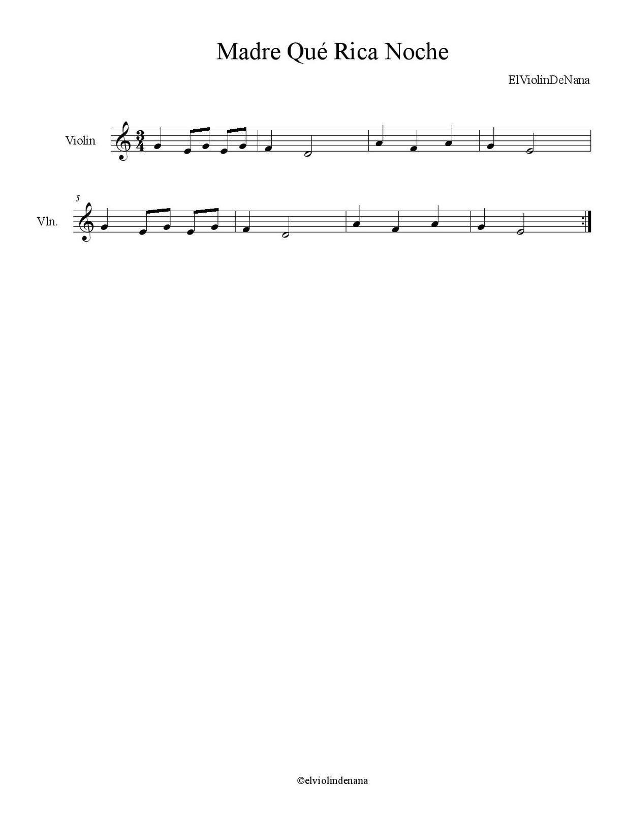 Partitura de la Canción &quot&#x3B;Madre Qué Rica Noche&quot&#x3B; | Canción Popular
