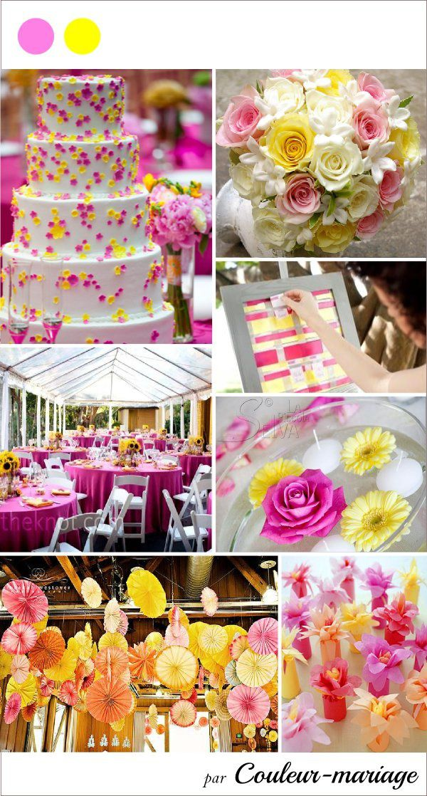 inspiration board rose et jaune