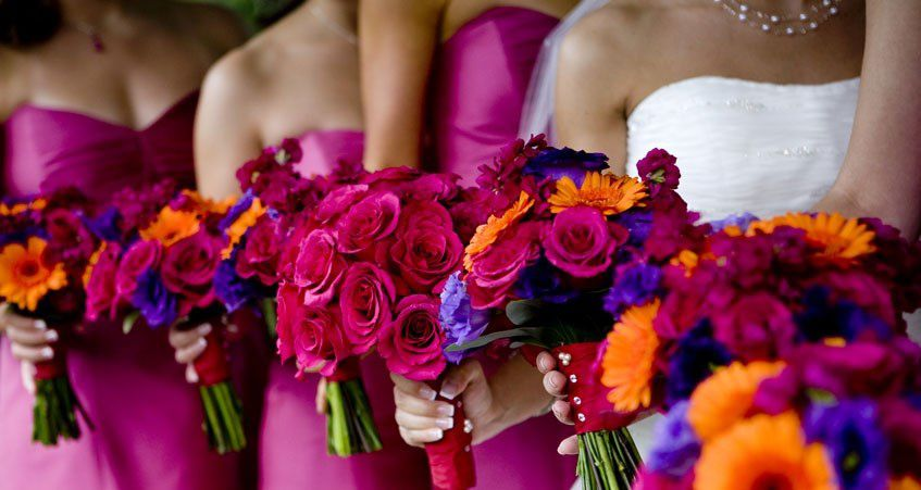 mariage fuschia orange violet