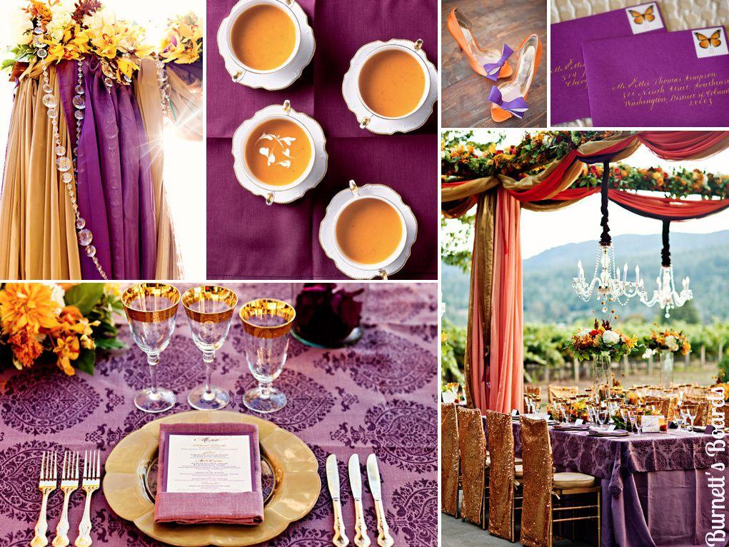 Mariage en orange et violet