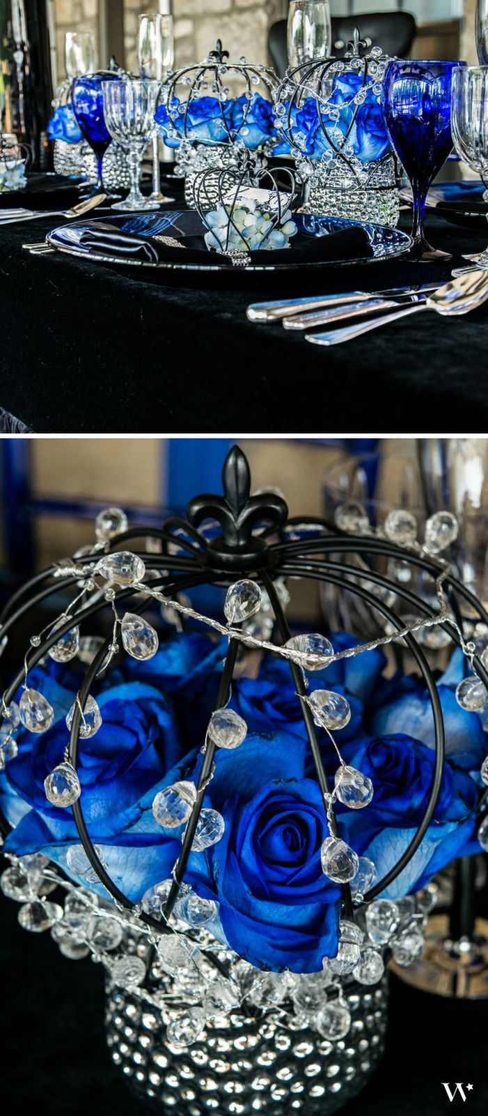 decoration mariage royal noir bleu royal