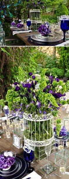 mariage champetre urne cage centre de table