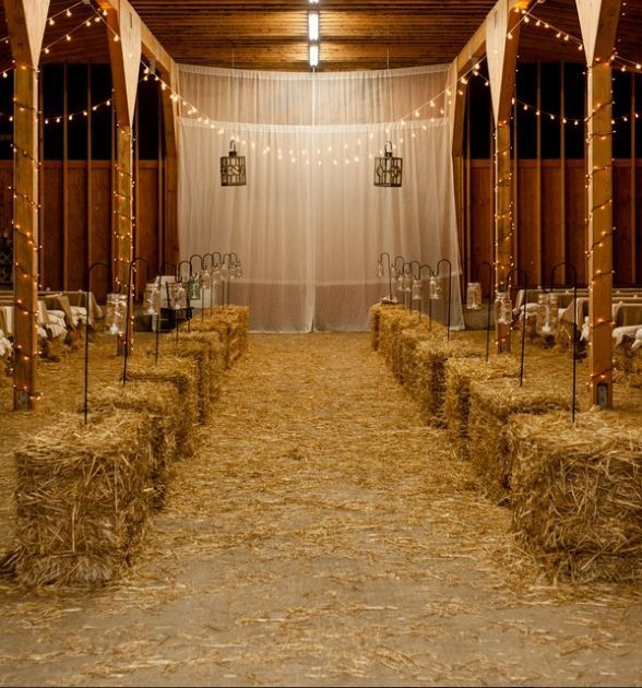 decoration lieu ceremonie mariage western botte paille
