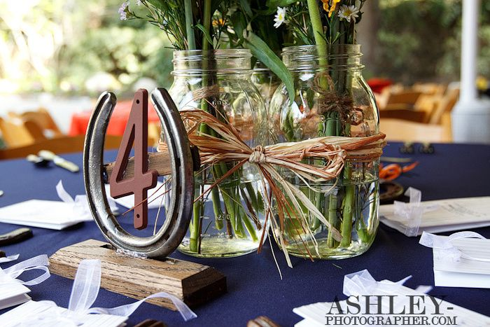 decoration table mariage western mason jars