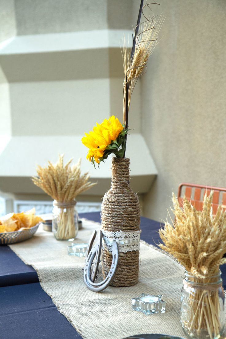 decoration centre de table bouteille cordage  fer cheval
