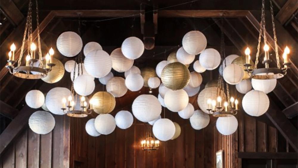 lampions or et argent décoration de salle