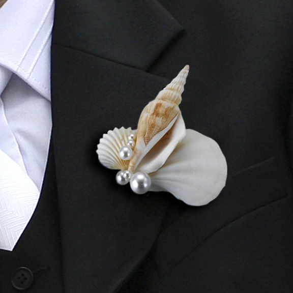 boutonnière mariage coquillage
