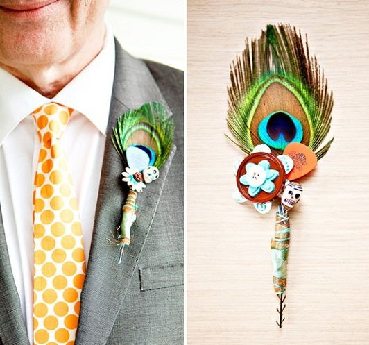 boutonnière mariage plume de apon