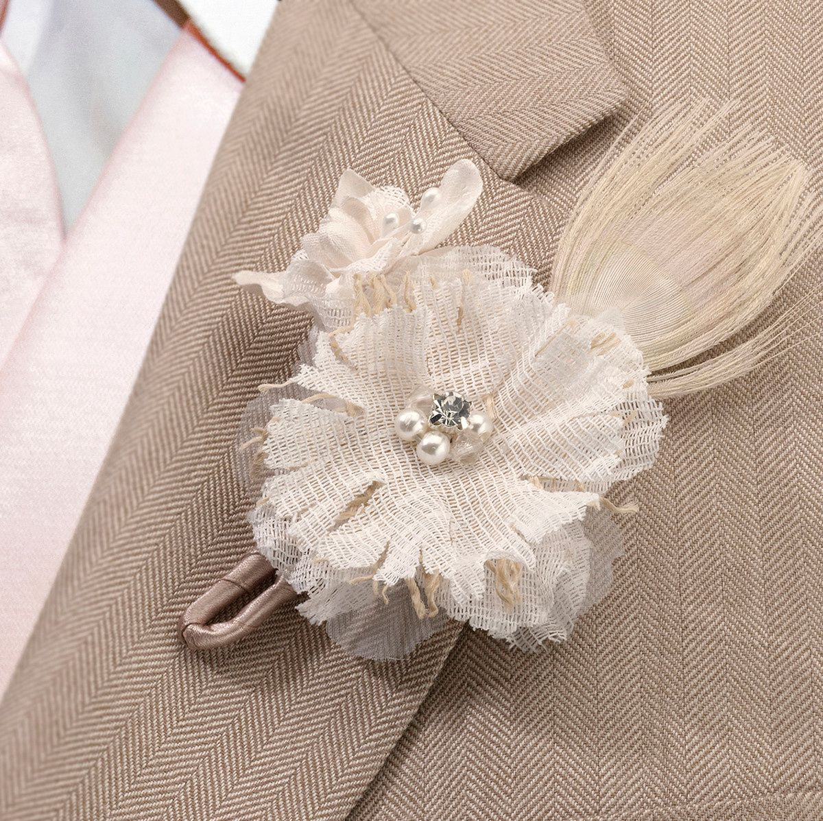 boutonnière mariage fleur en tissu