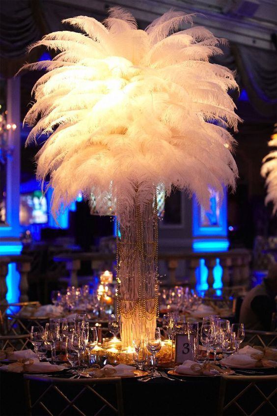 centre de table noel plumes decoration table noel