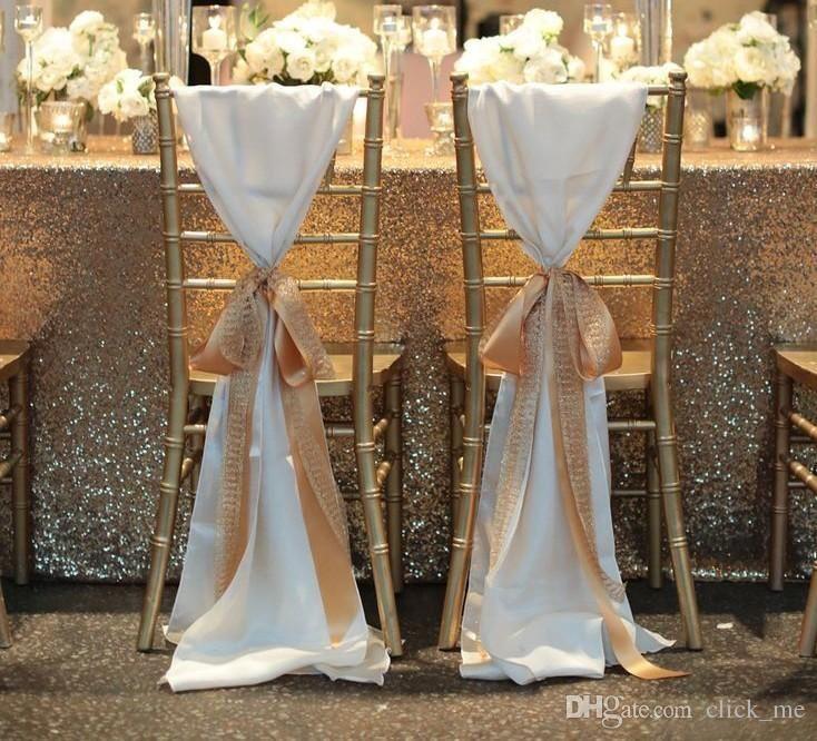 décoration de chaise ruban ivoire