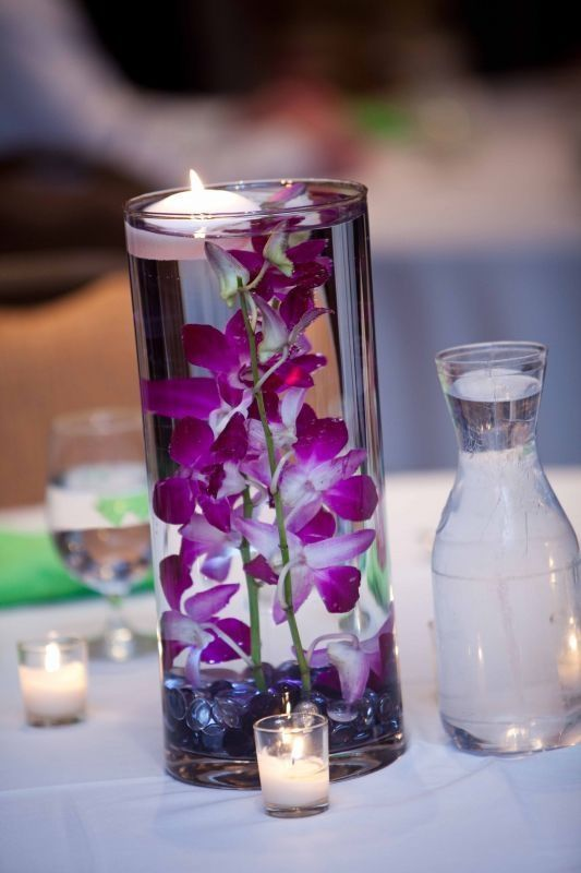 orchidée vase immergé decoration de table