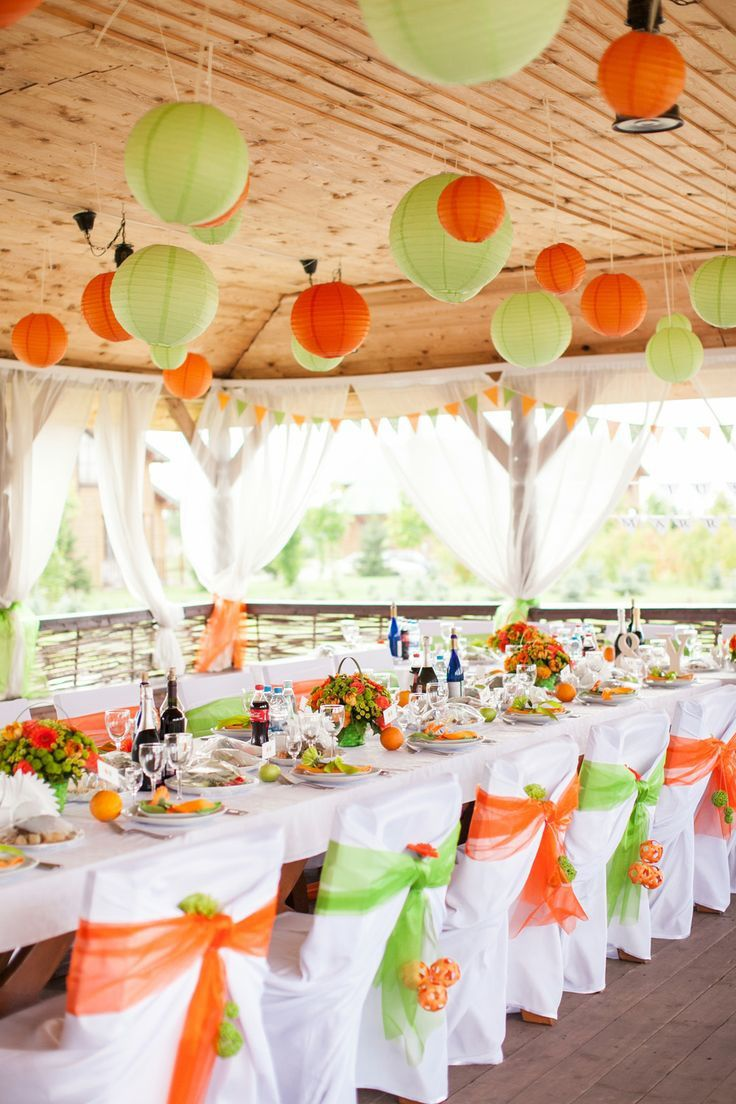 decoration mariage orange et blanc