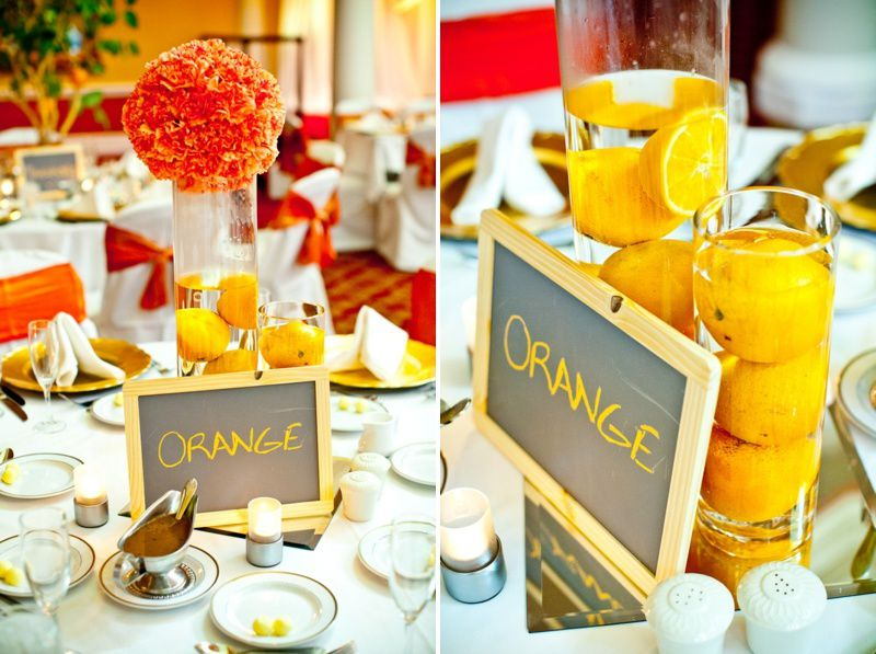 deco de table orange et jaune
