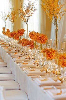 decoration de table orange et jaune  branchage