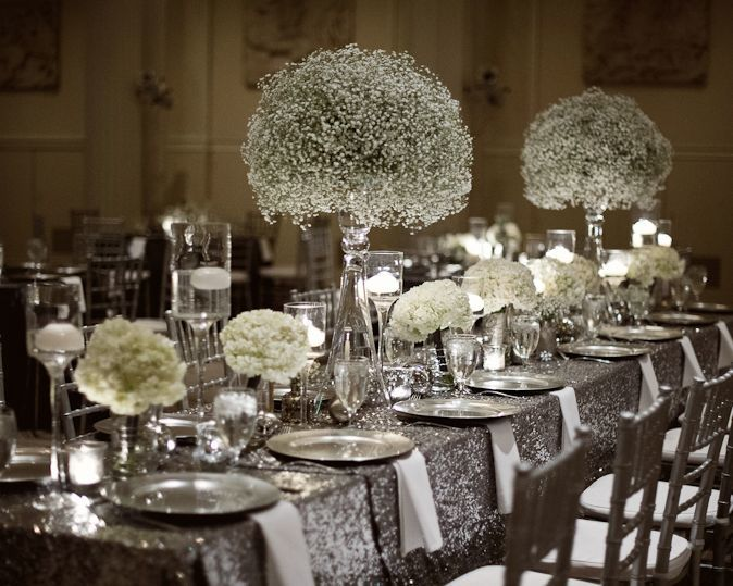 une d coration mariage argent strass et paillettes couleur mariage. Black Bedroom Furniture Sets. Home Design Ideas