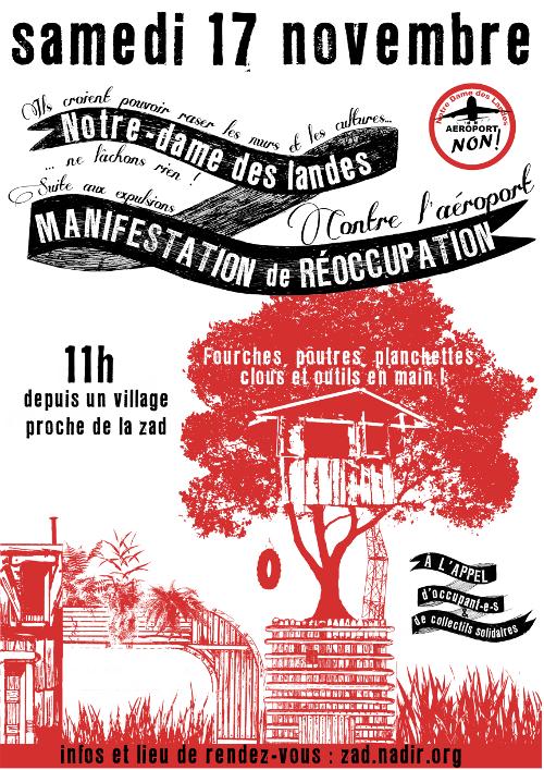 Samedi 17 Novembre : Manifestation de réoccupation à Notre-Dame-des-Landes